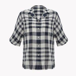 *Theory Ralfinn Plaid Button Front Shirt Size XL